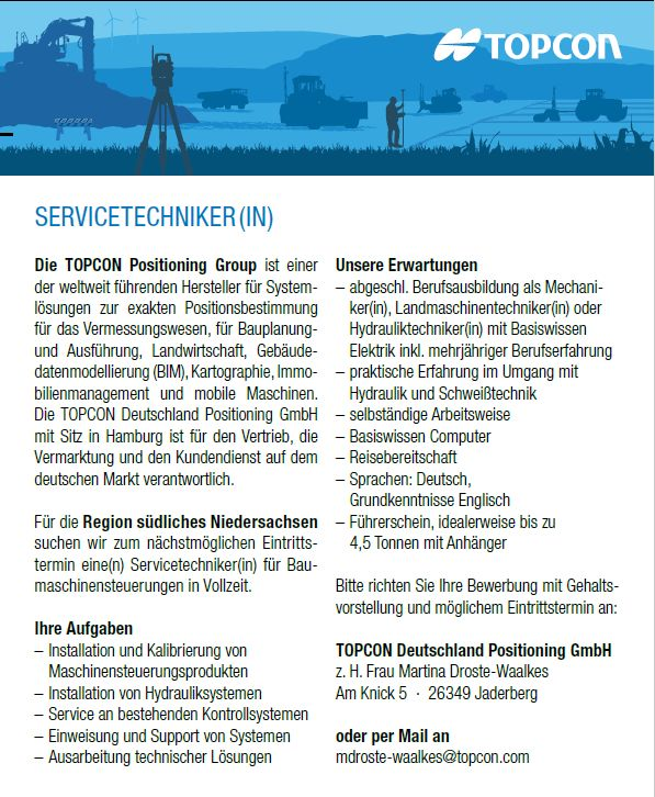 Servicetechniker/In gesucht! | Topcon Positioning Systems, Inc.